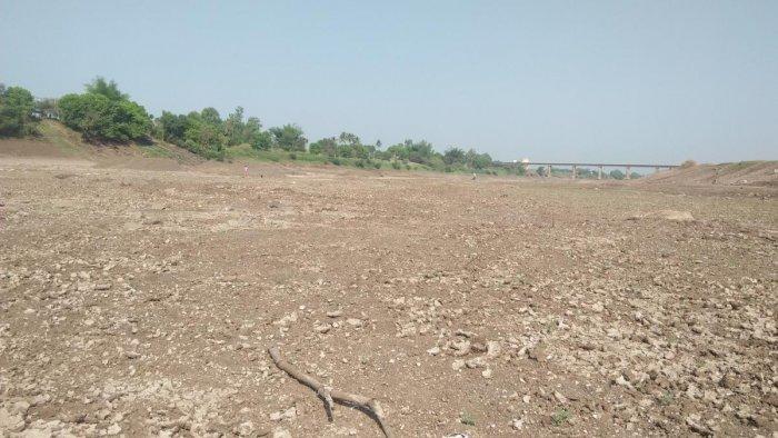The dried up Krishna riverbed at Manjri village in Chikkodi taluk in Belagavi district. DH Photo