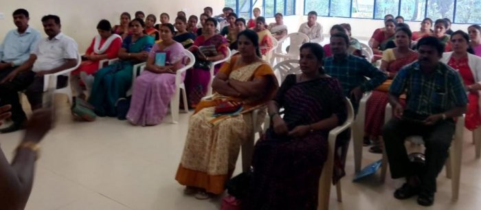 Teachers attend coaching classes at Krishik Bhavan, in Hassan, recently.