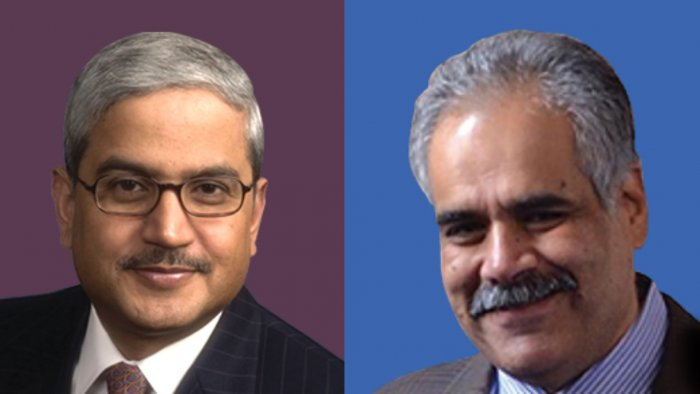 Rakesh Gangwal (L) and Rahul Bhatia (R). Photo via Indigo website.