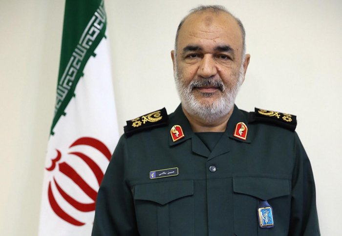 A handout picture provided by the office of Iran's Supreme Leader Ayatollah Ali Khamenei on April 22, 2019 shows Major General Hossein Salami, who was appointed as head of the Iranian Revolutionary Guards Corps (IRGC) during an official ceremony in the ca