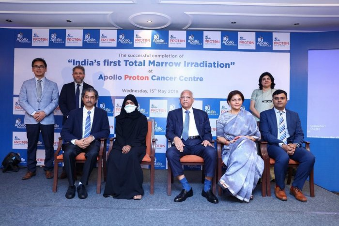 Apollo Proton Cancer Centre team with Fathima, the 36-year-old nurse from Oman, in Chennai on Wednesday. DH Photo