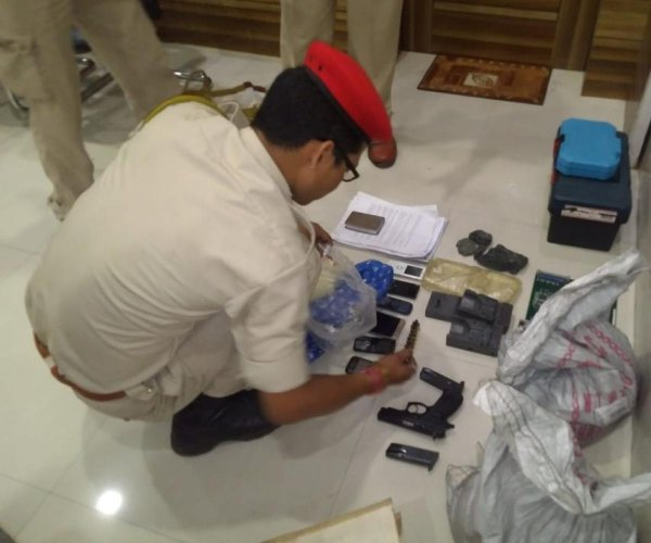 Explosives and bomb-making equipment recovered from the actress's rented house in Guwahati on Thursday. DH photo