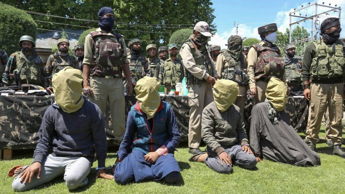A Lashkar-e-Taiba terror module was busted in north Kashmir and 10 people, including four militants who were purportedly responsible for gunning down three boys at Baramulla on April 30, can be seen arrested in this dated PTI file photo.