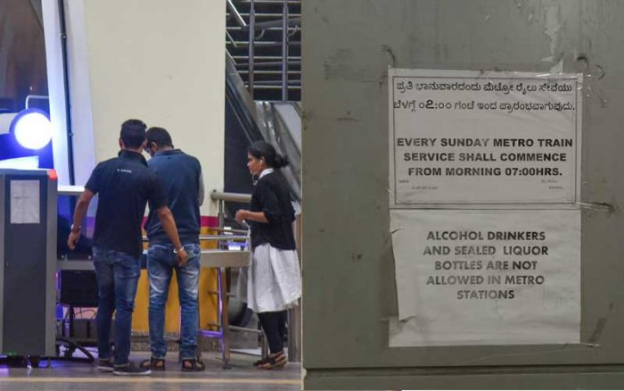 Security staff keep an eye on passengers on all floors. Right: Notice on a pillar at a station. dh photo by S K Dinesh