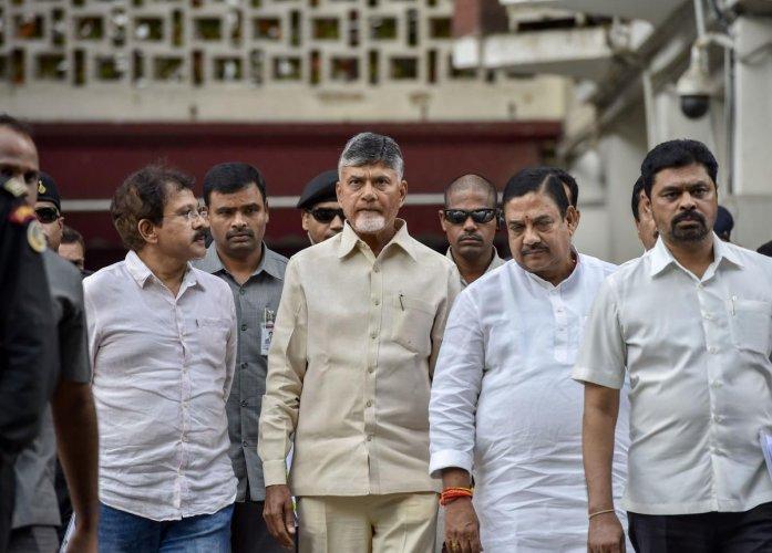 New Delhi: Andhra Pradesh Chief Minister and Telugu Desam Party (TDP) national president N. Chandrababu Naidu after meeting Election Commission of India, at Nirvachan Sadan, in New Delhi, Friday, May 17, 2019. PTI
