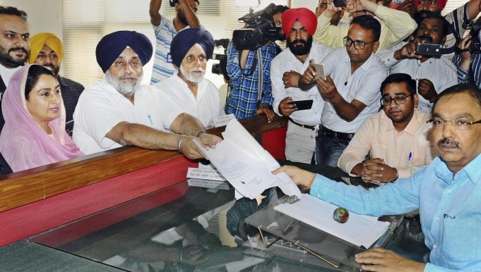 Shiromani Akali Dal (SAD) President and candidate from Ferozepur constituency Sukhbir Singh Badal files his nomination papers for Lok Sabha polls, in Ferozepur, Friday, April 26, 2019. Also seen is Union minister and Bathinda candidate Harsimrat Kaur Bada. PTI File photo