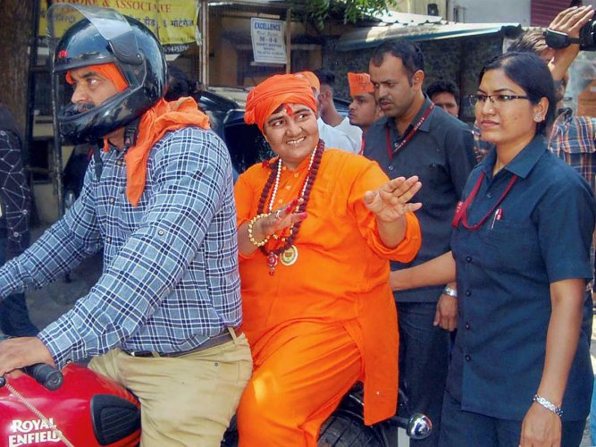 BJP candidate from Bhopal seat Sadhvi Pragya Singh Thakur campaigns for Lok Sabha polls, in Bhopal on May 10, 2019. (PTI Photo)
