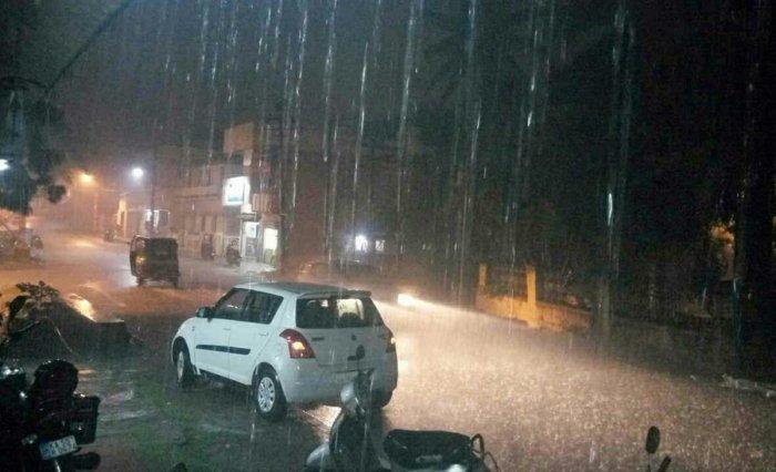 Rain in Mysuru city, recently. Dh-file photo
