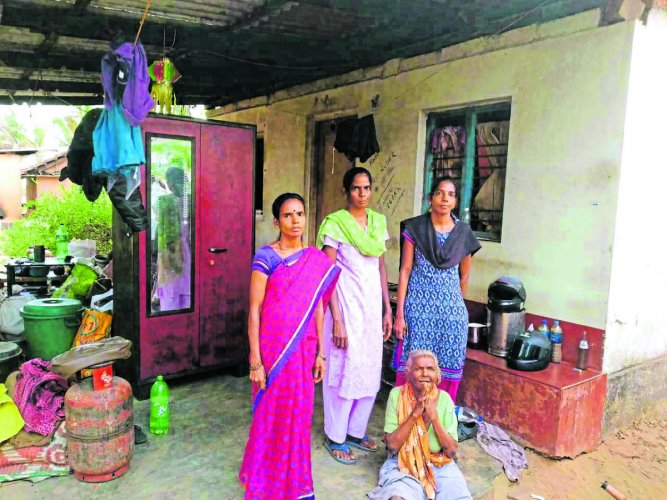 Kaveri, along with her daughters, was evicted from her house in Mukka. The items in the house have been placed outside.