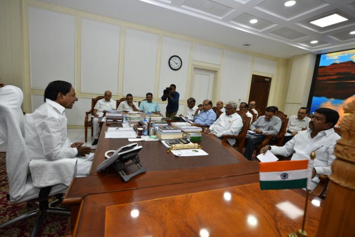 Telangana Chief Minister K Chandrasekhar Rao reviewing progress of Kaleshwaram with concerned officials (Photo DH News)