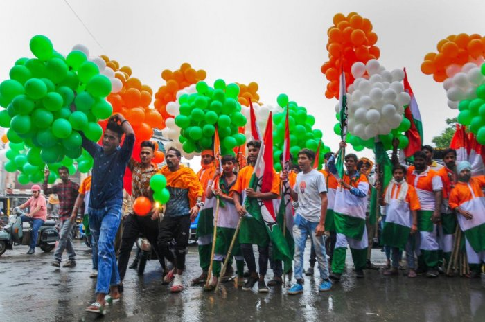 Congress workers during an election campaign in support of party's candidate from Amritsar seat Gurjeet Singh Aujla ahead of the seventh and final phase of the Lok Sabha polls, in Amritsar, Friday, May 17, 2019. (PTI Photo)