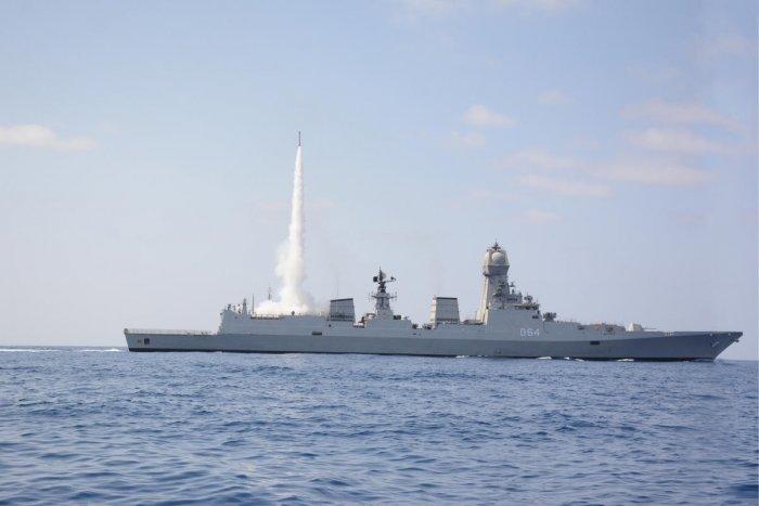 MRSAM firing from Missile INS Kochi