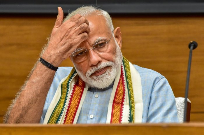 Prime Minister Narendra Modi during a press conference at the party headquarters in New Delhi on May 17, 2019. PTI