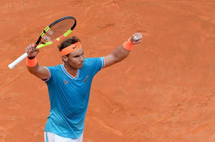 Rafael Nadal of Spain celebrates after winning against Greece's Stefanos Tsitsipas during their ATP Masters tournament semi-final tennis match at the Foro Italico camp in Rome. AFP photo