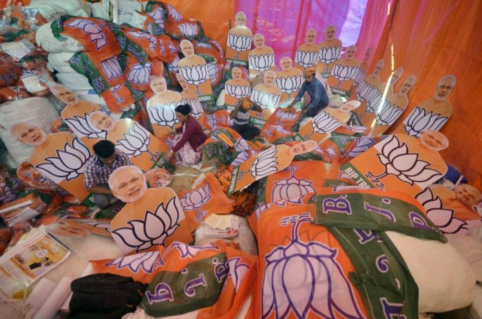 Most exit polls project a 45-seat win for the BJP and ally Apna Dal, and 32 seats to the SP-BSP alliance. File photo