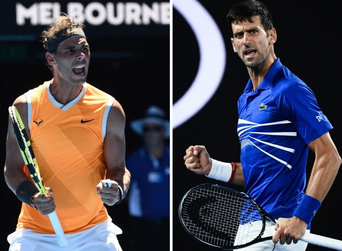This combination photo created on January 25, 2019 shows Spain's Rafael Nadal celebrating his victory against Australia's James Duckworth at the Australian Open tennis tournament in Melbourne on January 14, 2019 (L) and Serbia's Novak Djokovic reacting after a point against France's Lucas Pouille at the Australian Open tennis tournament in Melbourne on January 25, 2019. - Rafael Nadal will play Novak Djokovic in the men's singles final at the Australian Open tennis tournament on January 27, 2019. (Photo by