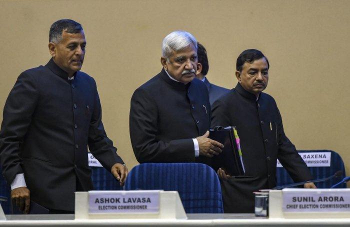 Ashok Lavasa, Sunil Arora and Sushil Chandra (PTI File Photo)