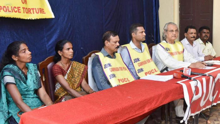 PUCL office-bearer P B D'Sa (3rd from right) speaks at a press meet in Mangaluru on Saturday, condemning the Dalit atrocity in Mukka, Surathkal.