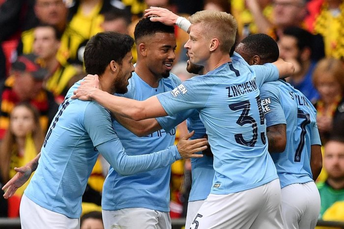Manchester City's Gabriel Jesus (second from left) celebrates with team-mates after scoring against Watford in the FA Cup final. AFP