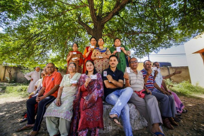 Migrant Kashmiri Pandits after casting their votes at a special polling station for Anantnag Lok Sabha seat, during the fifth phase of General Elections 2019, in Jammu. PTI File Photo