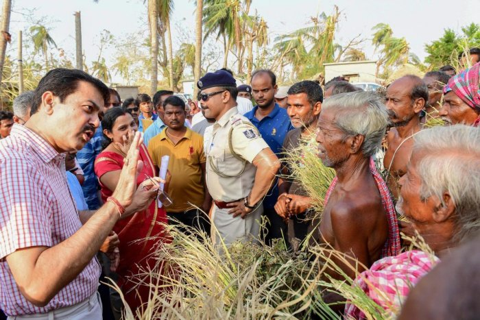 The Inter-Ministerial Central Team interacts with the villagers to assess the damage cause in the aftermath of cyclone Fani. (PTI Photo)