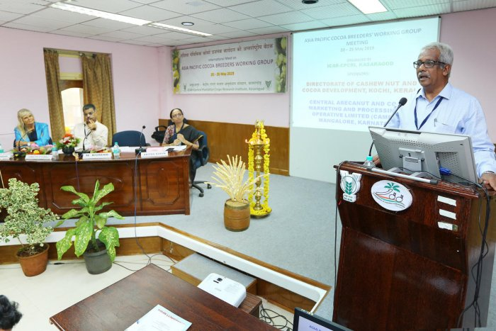 Tamil Nadu Agricultural University Vice Chancellor Dr N Kumar speaks during the five days international meeting of Asia-Pacific Cocoa Breeders Working Group organised at ICAR-Central Plantation Crops Research Institute (CPCRI), Kasaragod on Monday.