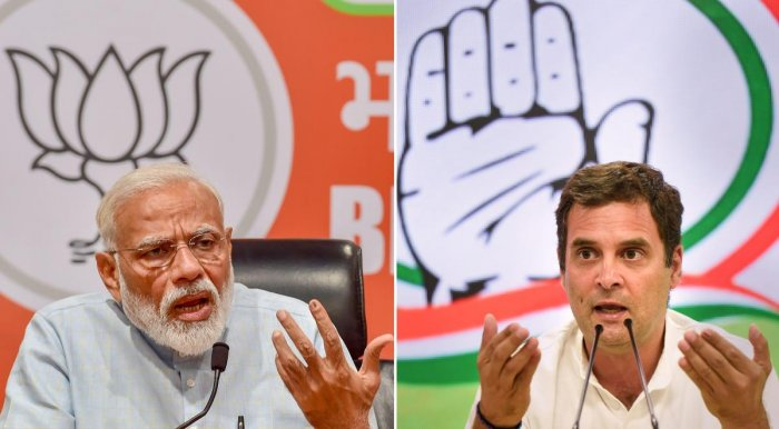 The BJP reacted with jubilation at the exit polls, which forecast a return of the National Democratic Alliance (NDA) government but opposition parties rejected the forecast. PTI File photo
