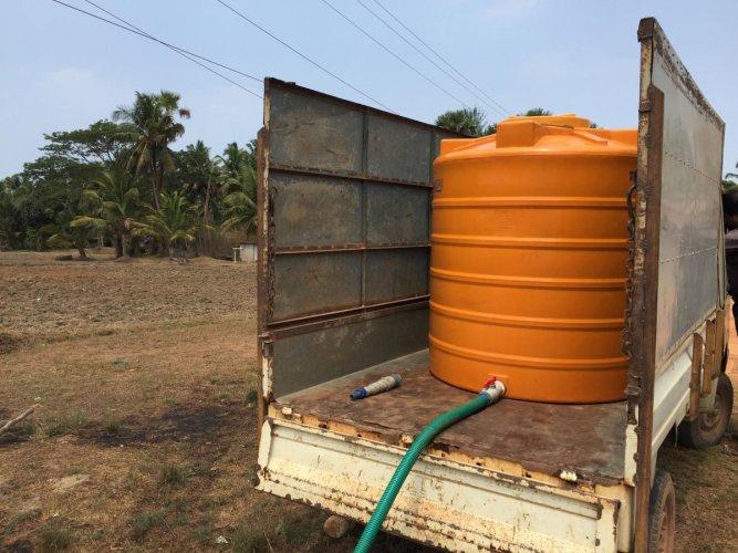 Private tankers supplying water in Hejamadi.