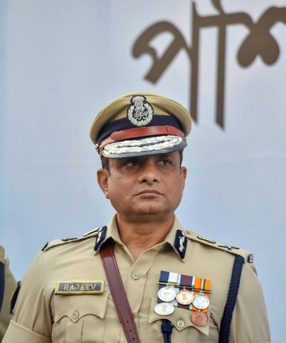 Kolkata: Kolkata Police commissioner Rajeev Kumar during the Joint Investiture Ceremony of West Bengal Police and Kolkata Police. (PTI File Photo)