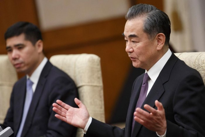 """Speaking Wednesday at a meeting of the Shanghai Cooperation Organization in Kyrgyzstan, Foreign Minister Wang Yi said representatives of the eight-nation grouping had expressed """"broad support"""" for China's position. AFP File photo"""