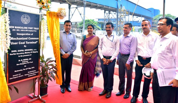 Shipping Ministry Secretary Gopal Krishna inaugurates the coal terminal with mechanised coal handling facility at the New Mangalore Port on Wednesday.