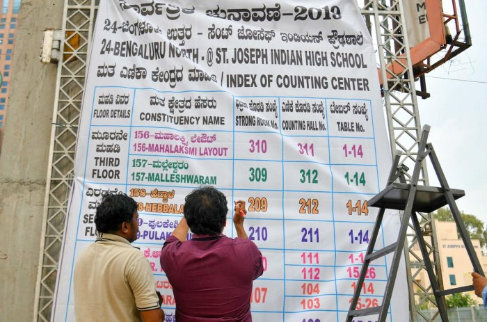 Indian election officials put up a banner announcing the list of constituencies at the counting centre on the eve of the vote counting day for India's general election in Bangalore. (Photo by AFP)