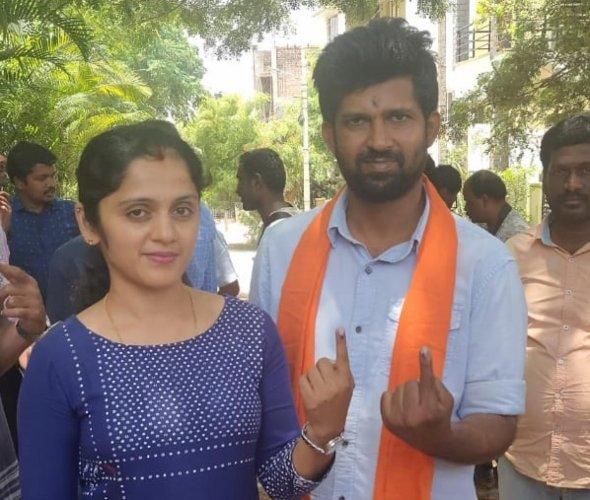 MP Prathap Simha and his wife Arpitha.