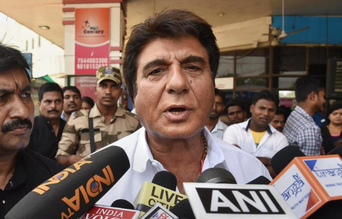 Patna: Uttar Pradesh Congress Committee chief Raj Babbar speaks to the media persons before leaving for an election campaign for Lok Sabha polls, in Patna, Saturday, April 27, 2019. (PTI Photo)