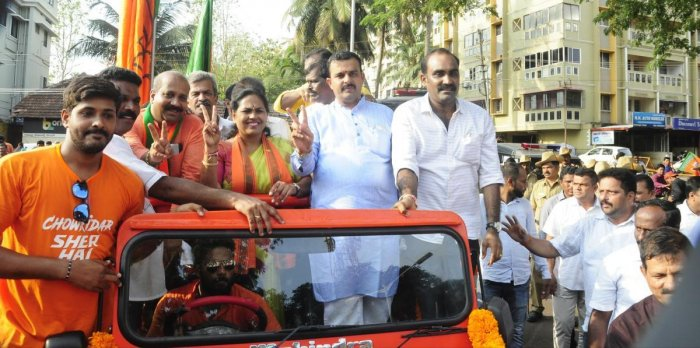 Shobha Karandlaje takes part in a victory procession after her thumping win in Udupi on Thursday.
