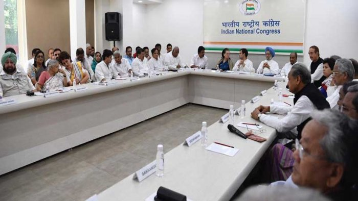 The Congress Working Committee(CWC) meeting, chaired by Congress president Rahul Gandhi, is being attended by UPA chairperson Sonia Gandhi, former prime minister Manmohan Singh, chief ministers of party-ruled states and other top leaders from across the country.
