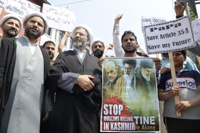 Kashmiri Shiite Muslims shout anti-Indian slogans during a demonstration against attempts by the NGO 'We the Citizens' and individual citizens to revoke article 35A and 370, in Srinagar on August 24, 2018. (AFP File Photo)