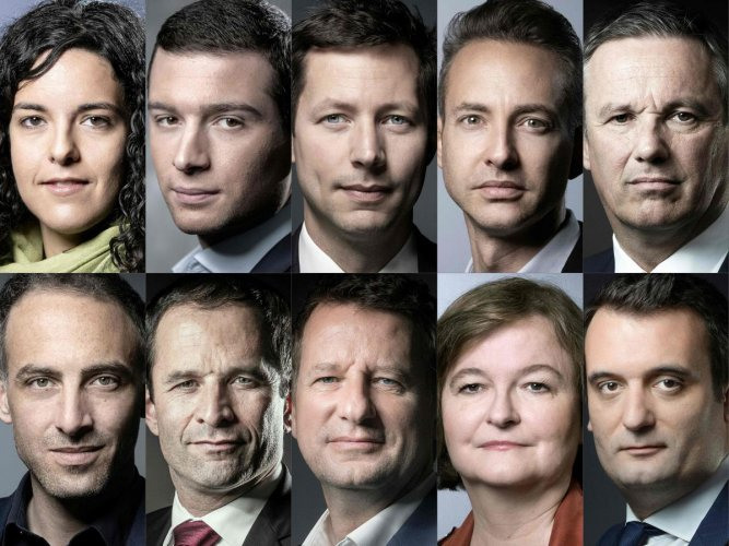 This combination of file pictures shows in alphabetical order from top left to bottom right front runner candidates for the May 23 to 26 European elections which recent surveys put on the ten first positions out of the 34 declared lists in France, LFI's Manon Aubry, RN's Jordan Bardella, LR's François-Xavier Bellamy, PC's Ian Brossat, DLF's Nicolas Dupont-Aignan, PP-PS' Raphael Glucksmann, Generation.s' Benoit Hamon, EELV's Yannick Jadot, LREM-MD's Nathalie Loiseau, Florian Philippot. AFP