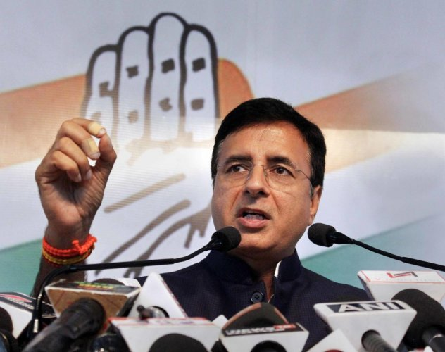 Congress spokesperson Randeep Singh Surjewala addresses a press conference, at MPCC office in Bhopal, Friday, Oct 12, 2018. (PTI Photo)