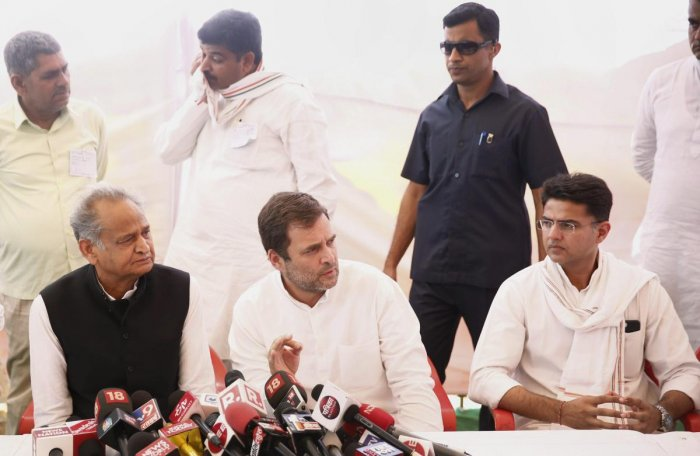 Congress President Rahul Gandhi with Rajasthan Chief Minister Ashok Gehlot and Deputy Chief Minister Sachin Pilot. (PTI File Photo)
