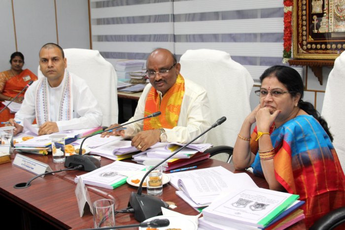 File photo of TTD Board Meeting with EO Anil Kumar Singhal (left) and Chairman Putta Sudhakar Yadav (middle)