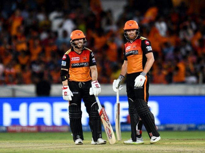 Sunrisers Hyderabad cricketers David Warner (L) and Jonny Bairstow. AFP file photo