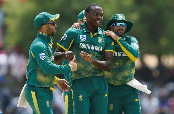 South Africa's Kagiso Rabada (centre) is a lethal package with his pace, skills and aggression. Reuters