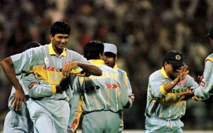 Venkatesh Prasad exults after dismissing Aamer Sohail in the 1996 World Cup in Bengaluru.