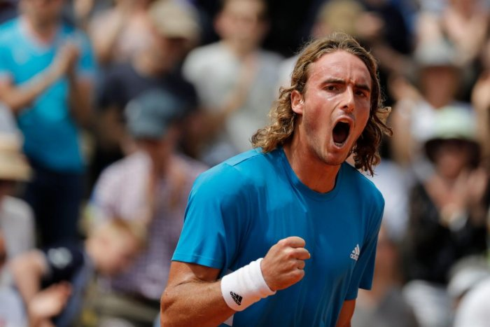 HARD DAY: Greece's Stefanos Tsitsipas celebrates after beating Bolivia's Hugo Dellien on Wednesday. AFP