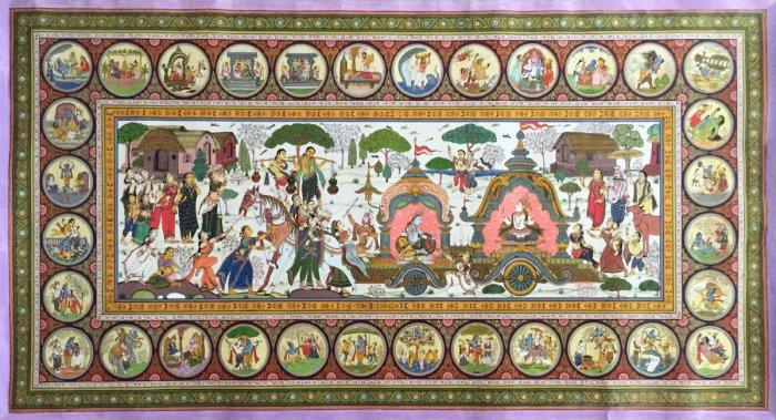 Mathura Vijay 2 (Mineral colours on pata) by Maguna Mohapatra