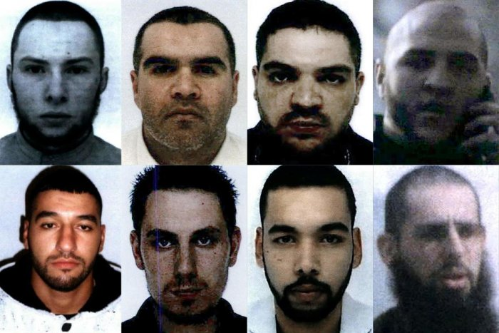 French nationals (from top left to bottom right) Vianney Ouraghi, Salim Machou, Mustapha Merzoughi, Brahim Nejara, Fodil Tahar Aouidate, Kevin Gonot, Yassine Sakkam and Leonard Lopez, all sentenced by a Baghdad court to death for joining the Islamic State