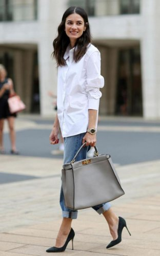 A crisp white shirt is a timeless pick in any material that flatters you.