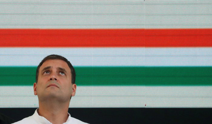 Rahul Gandhi, President of India's main opposition Congress party, looks up before releasing his party's election manifesto for the April/May general election in New Delhi, India, April 2, 2019.(Photo: REUTERS)