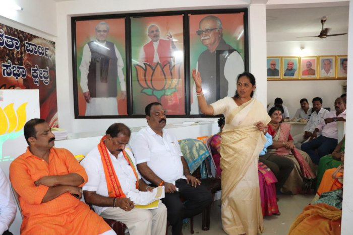 Udupi-Chikamagalur MP Shobha Karandlaje speaks after receiving felicitation at Kaup BJP office.